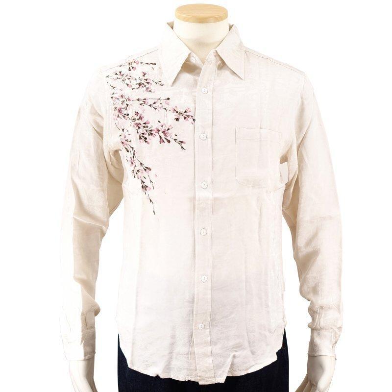 桜刺繍ジャガードシャツ  LS-003 花旅楽団 和柄|dandara|04