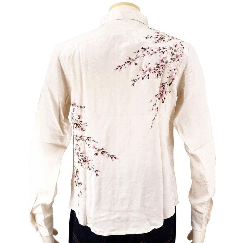 桜刺繍ジャガードシャツ  LS-003 花旅楽団 和柄|dandara|05