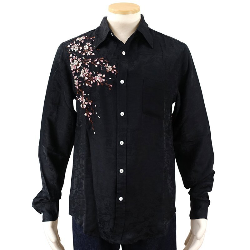 桜刺繍ジャガードシャツ  LS-003 花旅楽団 和柄|dandara|06