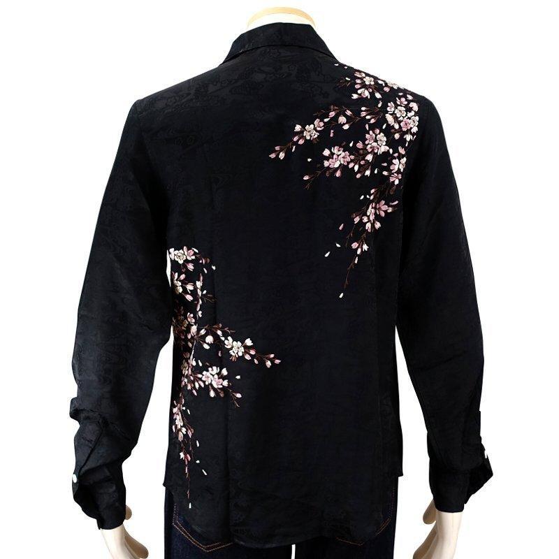 桜刺繍ジャガードシャツ  LS-003 花旅楽団 和柄|dandara|07