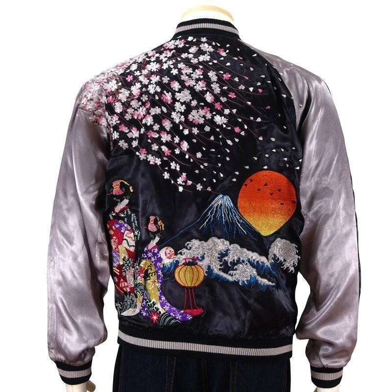 桜と舞妓刺繍スカジャン 花旅楽団 SSJ-038 和柄|dandara|03