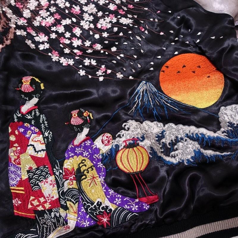 桜と舞妓刺繍スカジャン 花旅楽団 SSJ-038 和柄|dandara|05