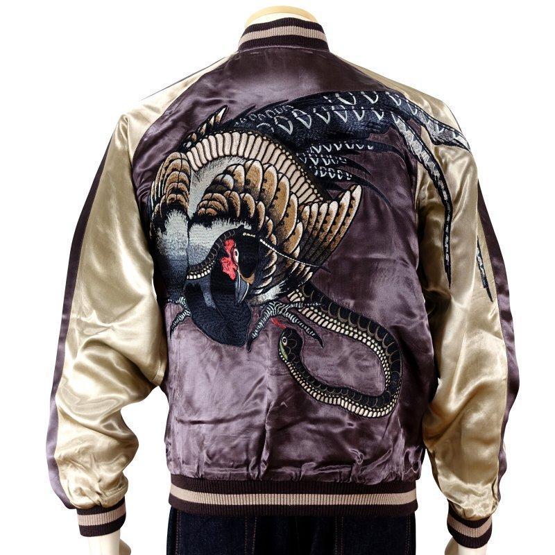 雉と蛇刺繍スカジャン 花旅楽団 SSJ-040 和柄|dandara|03