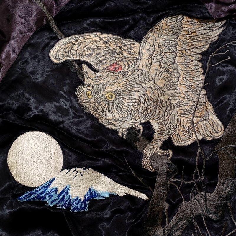 白木兎刺繍スカジャン 花旅楽団 SSJ-041 和柄|dandara|05