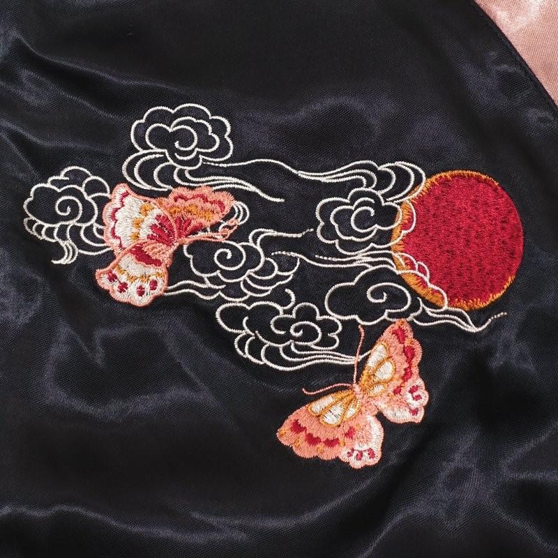 桜と狐刺繍スカジャン 花旅楽団 SSJ-522 和柄|dandara|04