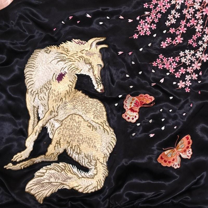 桜と狐刺繍スカジャン 花旅楽団 SSJ-522 和柄|dandara|05