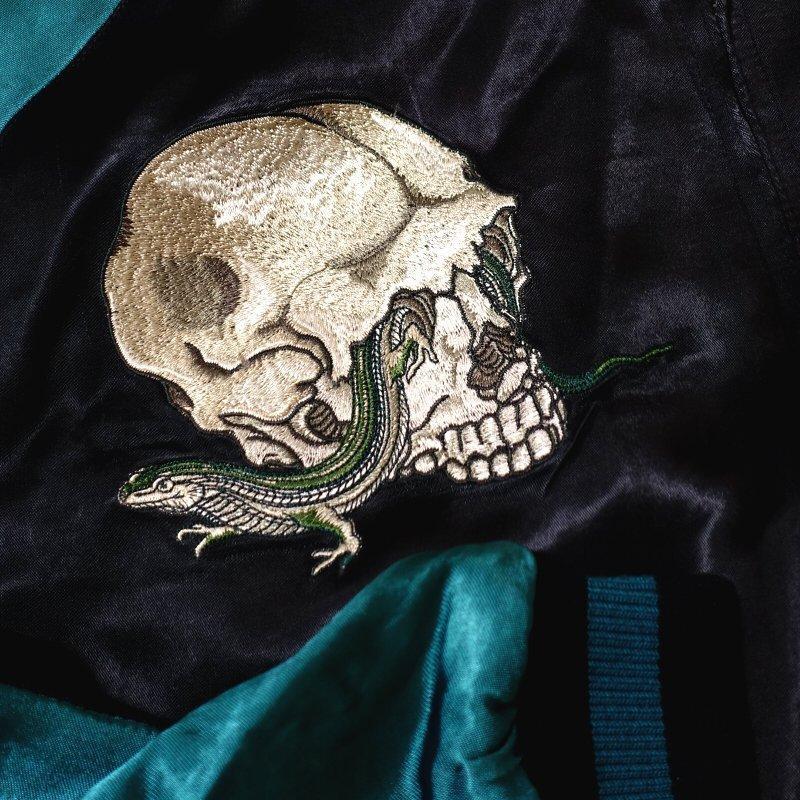 彼岸花とされこうべ刺繍スカジャン 花旅楽団 SSJ-524 和柄|dandara|04