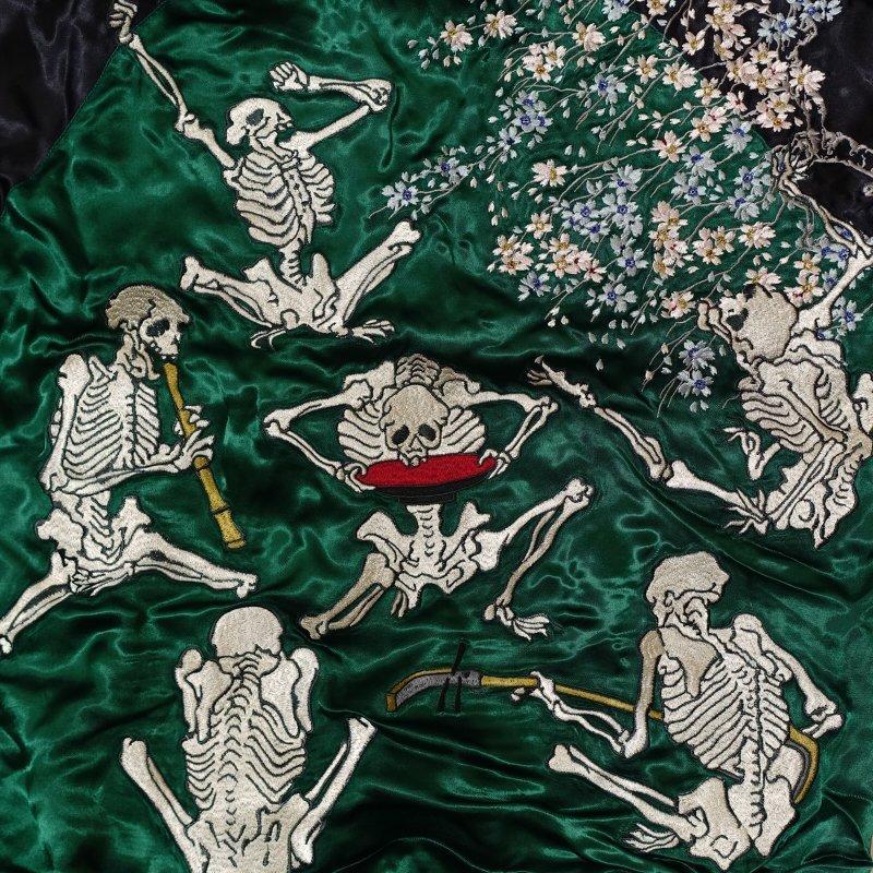 骸骨の宴刺繍スカジャン 花旅楽団 SSJ-525 和柄|dandara|04