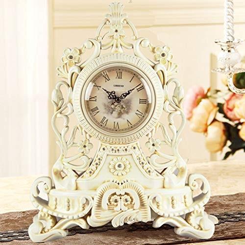 PLL ヨーロッパスタイルのホワイトテーブルクロッククリエイティブミュート時計パーソナリティリビングルームクォーツ時計装飾テーブルクロック