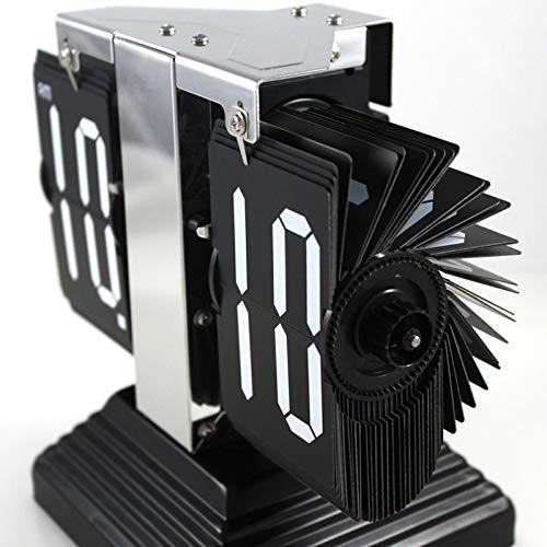DUOLUO ピラミッドベースのページクロック小さなテーブルクロックプロモーションギフトクリエイティブ時計自動ページ旋盤 (Color :