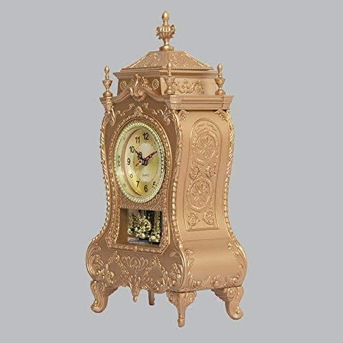 Jundonglilai 古典的な時計のデスククロックリビングルームのオフィスのテーブルクロックミュート振り子 (Color : A)