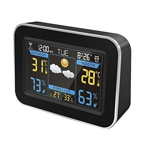 目覚まし時計 多機能 ベッドサイドデジタル天気予報目覚まし時計付き温度/湿度/時間/日付リモートモニタリングブラックイージー用キッズシニアと高齢者