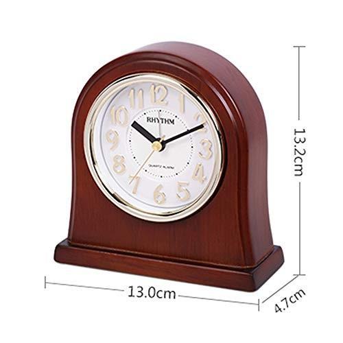 JTWJ 時計ミュート反欲張り目覚まし時計ベッドサイドの漫画創造的な座っている時計3.1 x 3.2 x 1.6インチブラウン