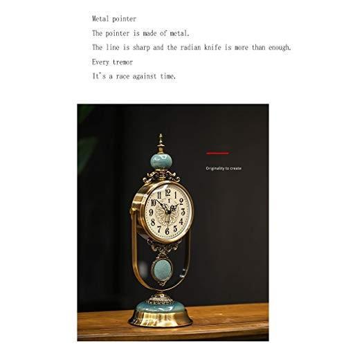 装飾的な時計 - 金属+大理石のテーブルトップテーブルの装飾の装飾品時計 - リビングルームのテーブルクロックアメリカンスタイルの時計
