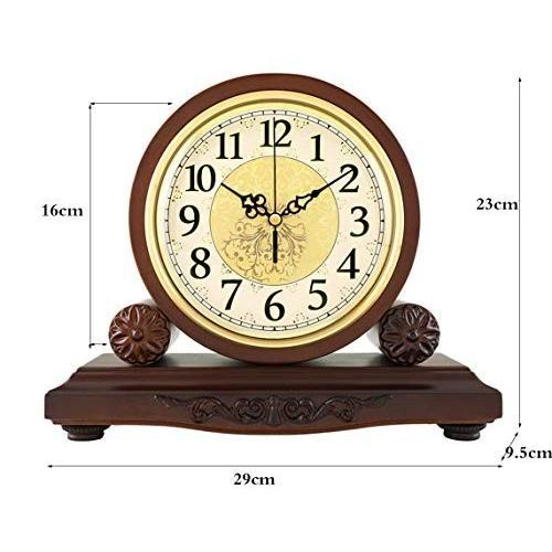 整数時間レポート純木製卓上時計|マウサーリビングルームのベッドルームサイレントレトロクォーツデスクトップ振り子時計 (Color : 褐色,