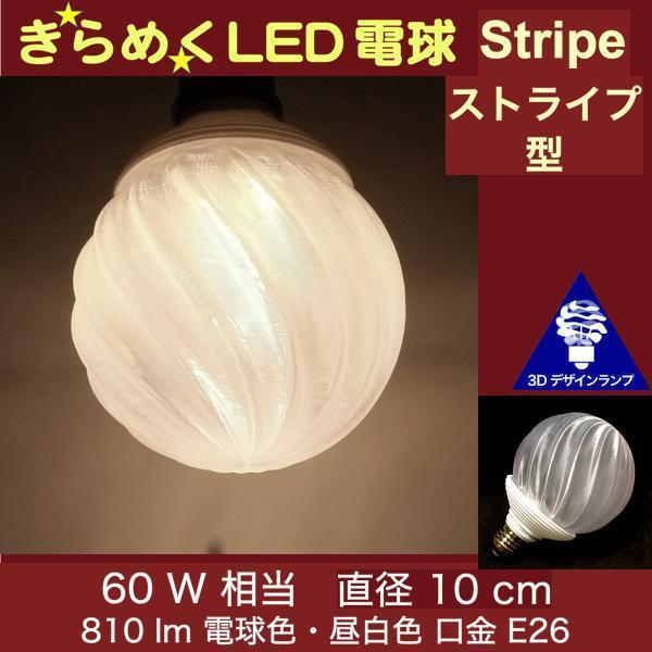 3Dデザイン電球 種類 IIng 60W相当 サイズ10cm おしゃれに きらめき輝く 電球色 昼白色 裸電球 口金E26 大きい 大形 大型ボール球型LED電球 dasyn