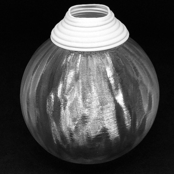 透明な LED電球カバー シェードのみ 横波模様の傘 直径10cm 裸電球にかぶせる おしゃれな照明カバー きらめくランプシェード dasyn 02