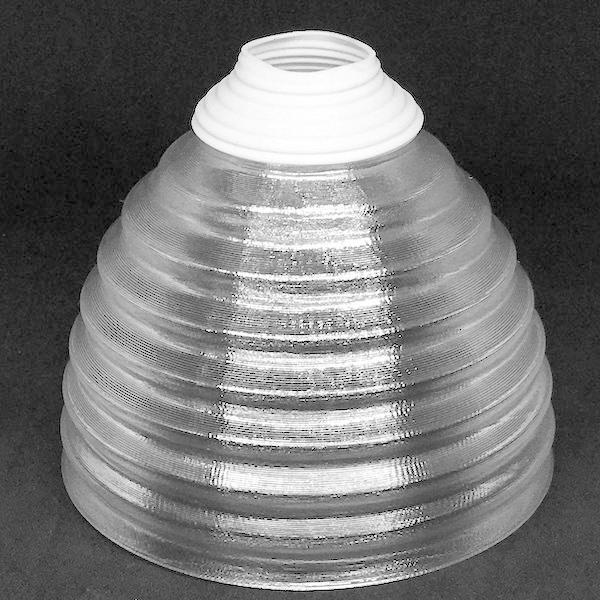 透明な LED電球カバー シェードのみ 同心円模様の傘 直径 10cm 裸電球にかぶせる おしゃれな照明カバー きらめくランプシェード dasyn 02