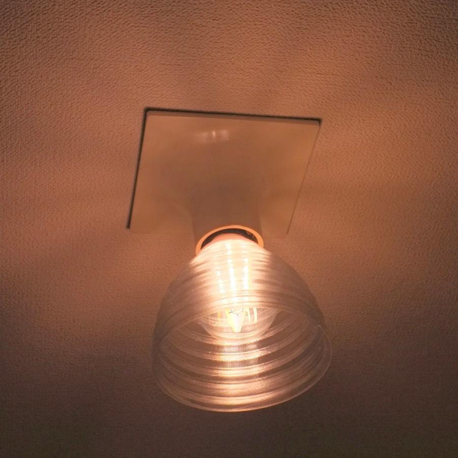 透明な LED電球カバー シェードのみ 同心円模様の傘 直径 10cm 裸電球にかぶせる おしゃれな照明カバー きらめくランプシェード dasyn 03