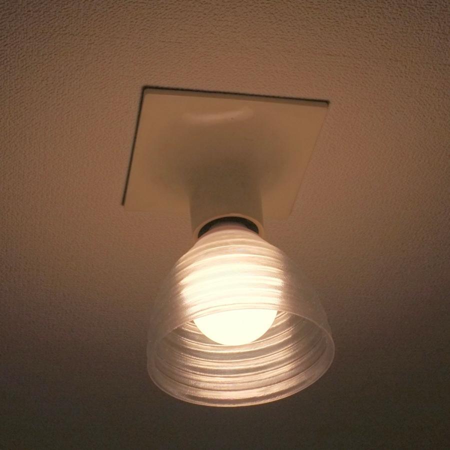 透明な LED電球カバー シェードのみ 同心円模様の傘 直径 10cm 裸電球にかぶせる おしゃれな照明カバー きらめくランプシェード dasyn 04