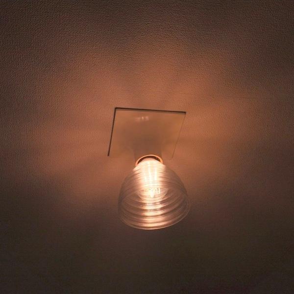 透明な LED電球カバー シェードのみ 同心円模様の傘 直径 10cm 裸電球にかぶせる おしゃれな照明カバー きらめくランプシェード dasyn 05
