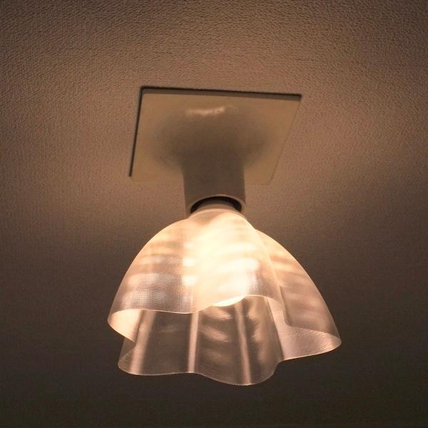 透明な LED電球カバー シェードのみ 桜形 星形の傘 直径17cm 裸電球にかぶせる おしゃれな照明カバー きらめくランプシェード dasyn 06