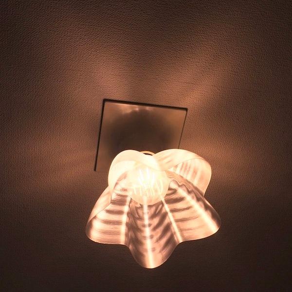 透明な LED電球カバー シェードのみ 桜形 星形の傘 直径17cm 裸電球にかぶせる おしゃれな照明カバー きらめくランプシェード dasyn 07