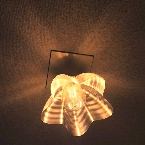 透明な LED電球カバー シェードのみ 桜形 星形の傘 直径17cm 裸電球にかぶせる おしゃれな照明カバー きらめくランプシェード dasyn 09