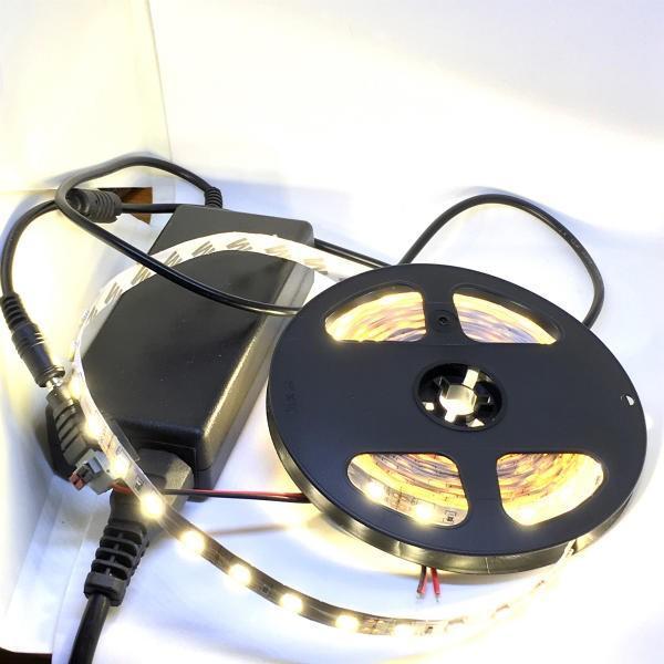 LEDテープライト 100 V 電源アダプタ付き 5050 高輝度電球色 12 V (5 cm 0.7 W 単位 切り売り,非防水,照明器具)|dasyn