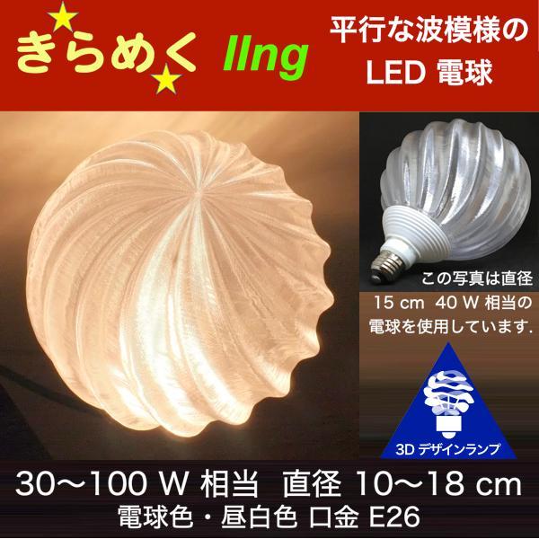 レンタル 3Dデザイン電球 IIng 40W相当 直径10cm おしゃれに きらめき輝く 電球色 昼白色 裸電球 口金E26 大型ボール球型LED電球 天井直付け シーリングライト用 dasyn