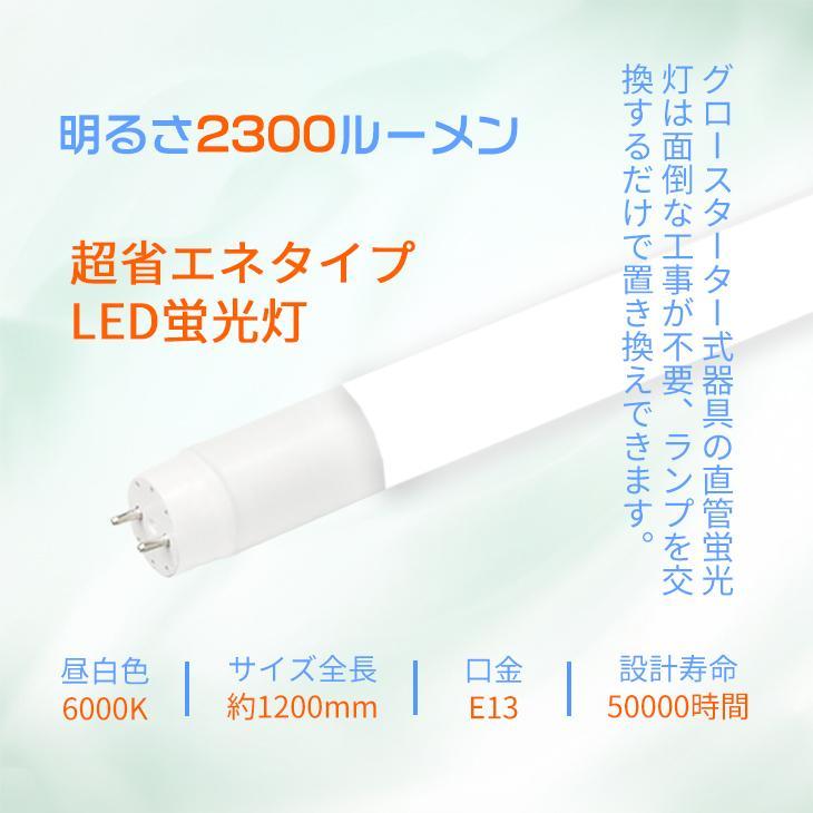LED蛍光灯 40W形 直管120cm 約2200lm ガラスタイプ 照射角度 200度 グロー式工事不要 消費電力16W 超省エネタイプ  片側給電|dataworks119|07