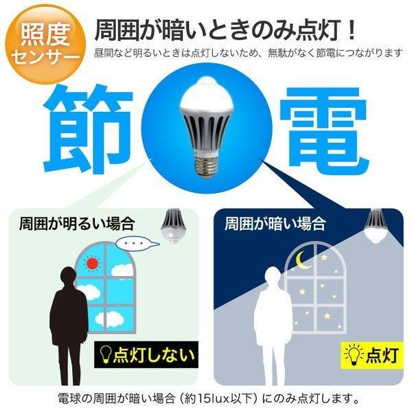 人感センサーライト LED電球 E26 人感センサー付 E17/E26 60W 自動点灯 自動消灯 工事不要 照明 節電 2個セット dataworks119 05