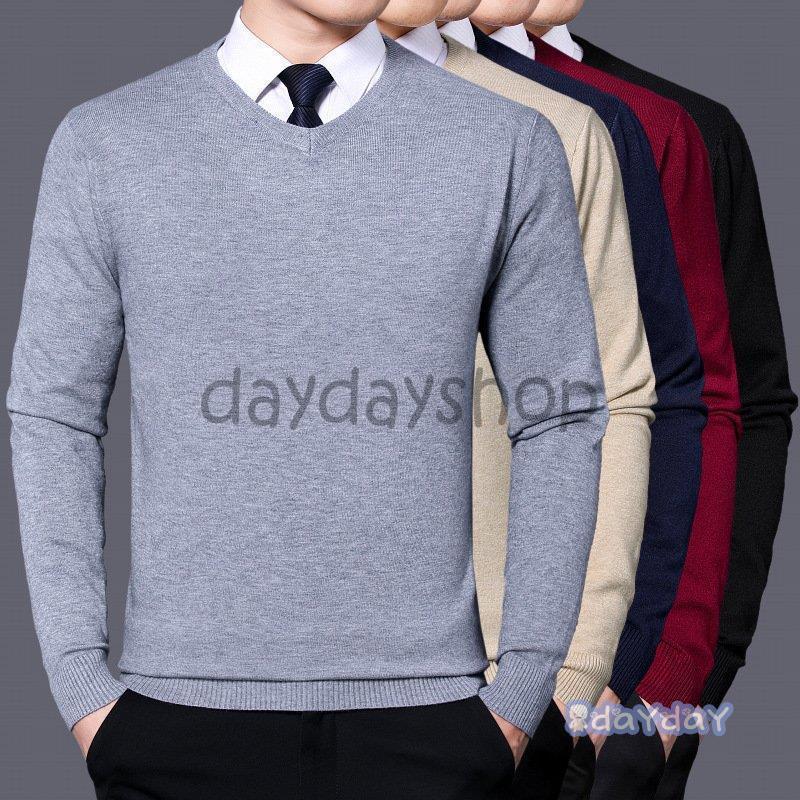メンズセーター メンズニット Vネック 無地 ケーブル編み リブ編み 無地 長袖ニット 洗える ウォッシャブル グレー 紺 黒 ビジネス スクール秋着 冬着|dayday-shop
