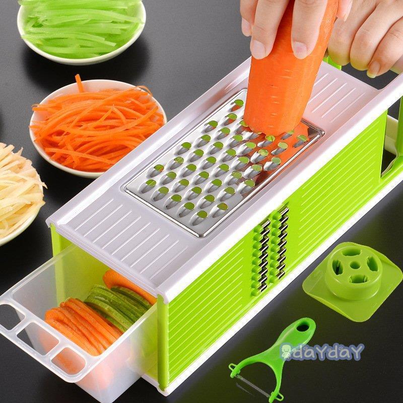 果物 スライサー みじん切り 千切り 調理器セット せん切り器 セット グリーン レッド 多機能 水切り皿 野菜 薄切り|dayday-shop|16