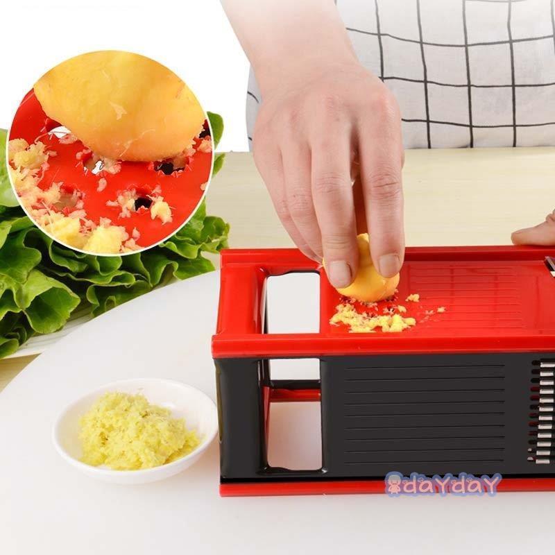 果物 スライサー みじん切り 千切り 調理器セット せん切り器 セット グリーン レッド 多機能 水切り皿 野菜 薄切り|dayday-shop|18
