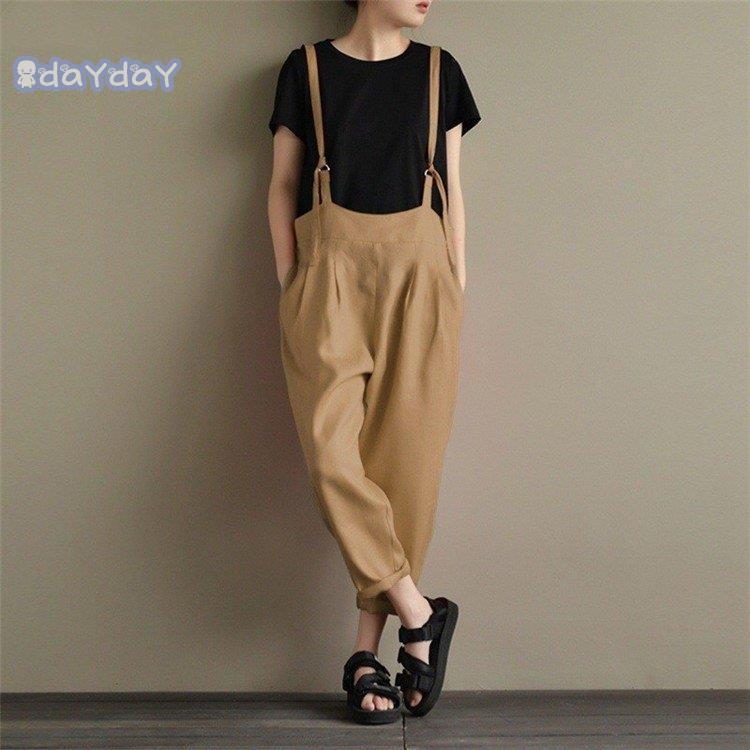 在庫処分 サロペットパンツ サロペット オールインワン レディース 綿麻混風 ロングパンツ パンツドレス オーバーオール ワイドパンツ ゆったり 着痩せ OL|dayday-shopping|05