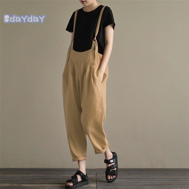 在庫処分 サロペットパンツ サロペット オールインワン レディース 綿麻混風 ロングパンツ パンツドレス オーバーオール ワイドパンツ ゆったり 着痩せ OL|dayday-shopping|06
