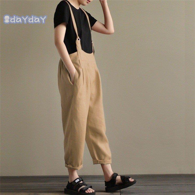 在庫処分 サロペットパンツ サロペット オールインワン レディース 綿麻混風 ロングパンツ パンツドレス オーバーオール ワイドパンツ ゆったり 着痩せ OL|dayday-shopping|07