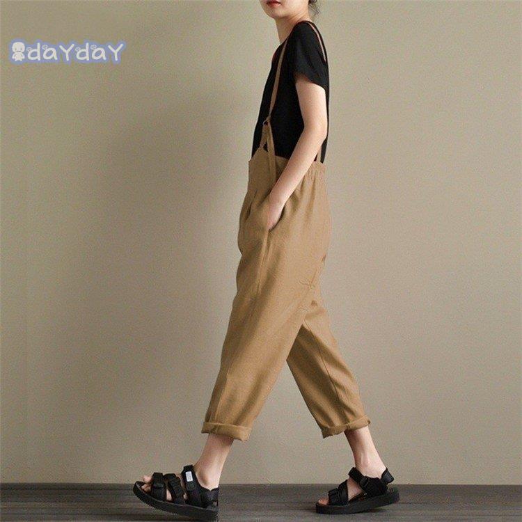 在庫処分 サロペットパンツ サロペット オールインワン レディース 綿麻混風 ロングパンツ パンツドレス オーバーオール ワイドパンツ ゆったり 着痩せ OL|dayday-shopping|08