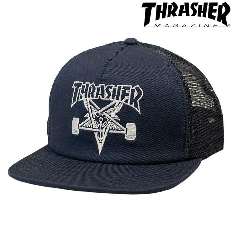 THRASHER Mens Mesh Sk8 Goat Trucker Snapback Hat
