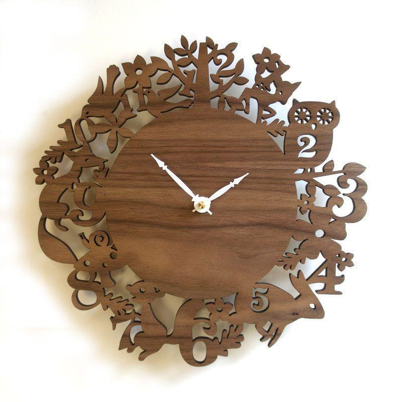 DECOYLAB デコイラボ It's My Forest Walnut 森 壁掛け時計 おしゃれ かわいい 木製