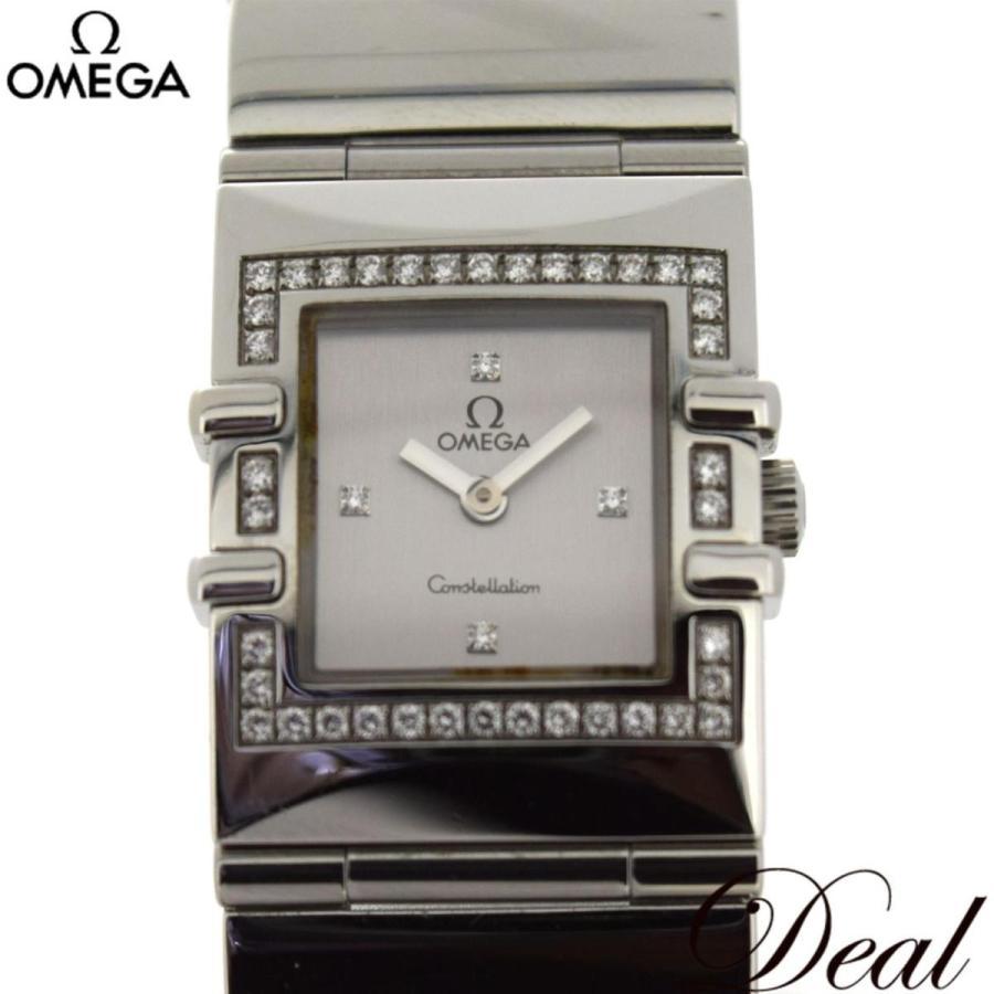 人気TOP ベゼルダイヤ OMEGA オメガ コンステレーション カレ クアドラ 1528.36 クォーツ レディース 腕時計, インバグン abf8d146