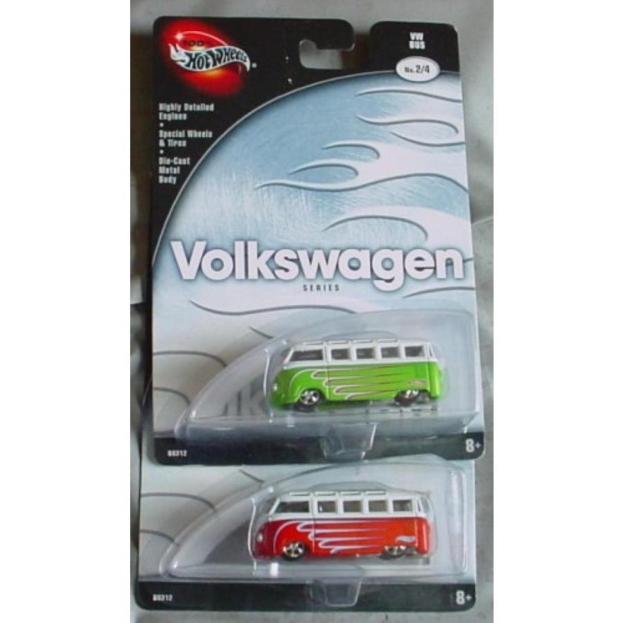 【送料無料】ミニカー Hot Wheels 100% Prefer赤 Volkswagen VW Bus #2/4 赤 & 緑 輸入品