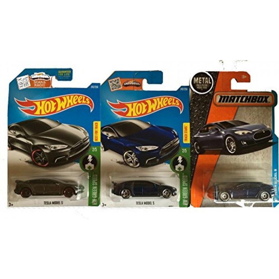 【送料無料】ミニカー Hot Wheels 2016 青 & Dark グレー with Matchbox 青 Tesla Model S 3-Car Set 輸入品