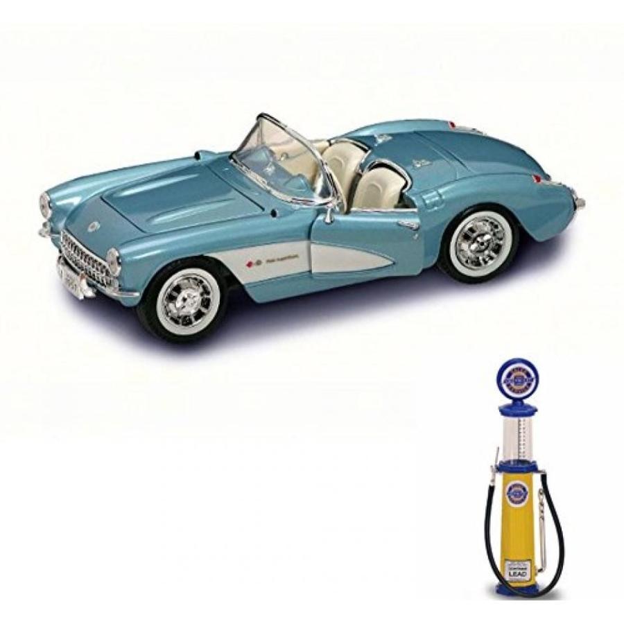 【送料無料】ミニカー Chevy Diecast Car & Gas Pump Package - 1957 Chevrolet Corvette Convertible, 青 - Road Signature 92018 - 1/18 Scale Diecast