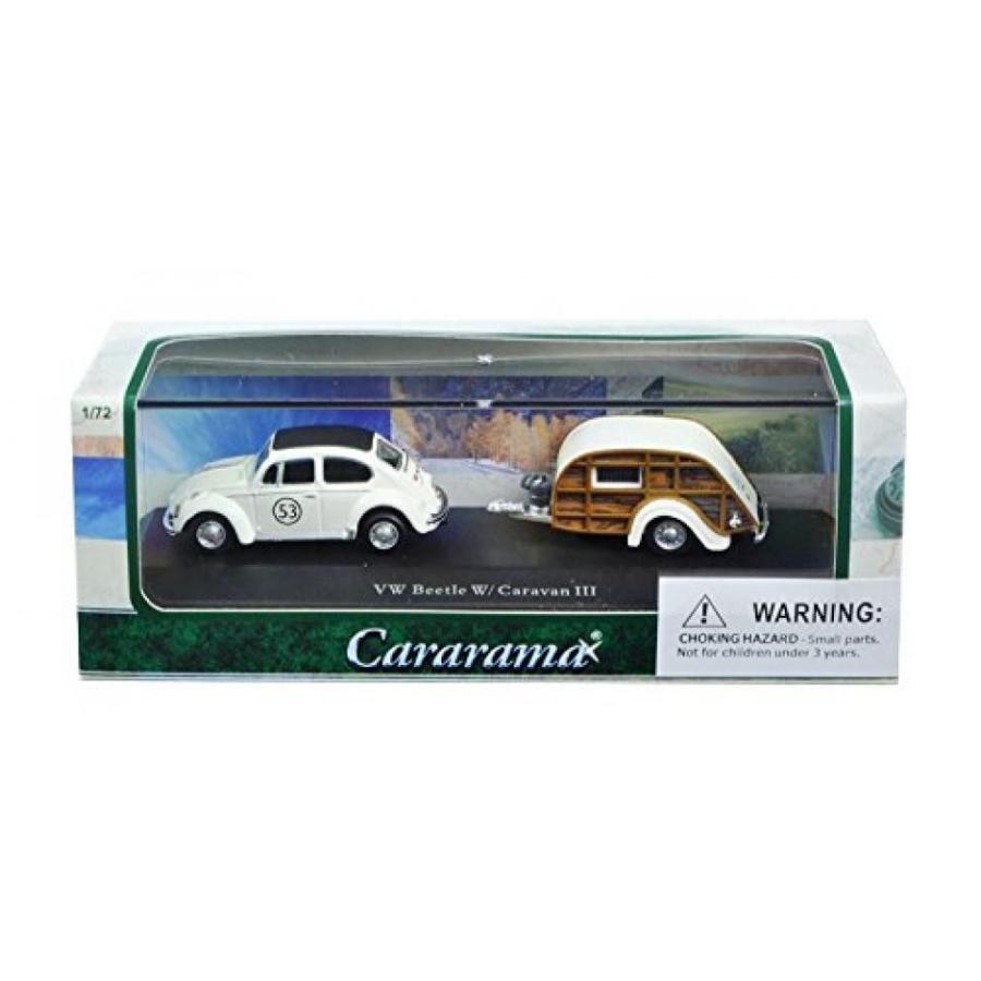 フォルクスワーゲン ミニカー Volkswagen Beetle #53 with Caravan III Trailer in Display Showcase 1/72 Diecast Model Car by Cararama 14811 輸入品