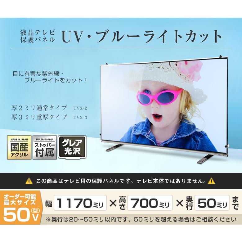 液晶テレビ保護パネル50・48・49型 インチ UV・ブルーライトカット 厚2ミリ 光沢 グレア 画面 破損 防止 カバー 家族 一家 巣ごもり 応援 観戦 有機EL対応 国産|decodecoshop|02