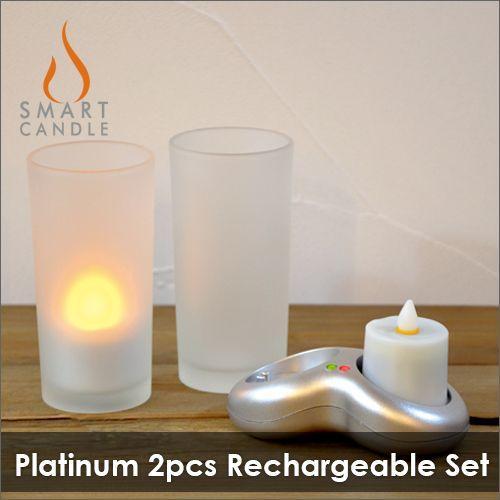 LEDキャンドル 充電式 グラス+キャンドル LEDキャンドル Smart Candle プラチナ2ピース充電キャンドルセット|decomode