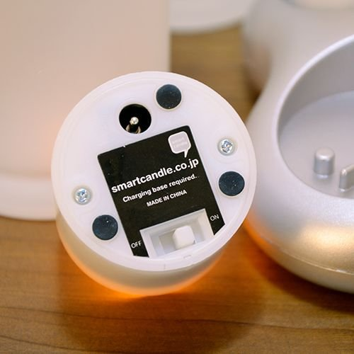 LEDキャンドル 充電式 グラス+キャンドル LEDキャンドル Smart Candle プラチナ2ピース充電キャンドルセット|decomode|02