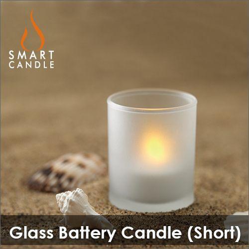 LEDキャンドル 電池式 ミニサイズのグラス+キャンドル Smart Candle グラスバッテリーキャンドル(ショートグラスパッケージ)|decomode